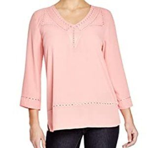 NYDJ Embroidered Blouse Guava S NWT